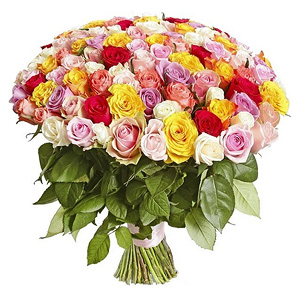 Buchet din 101 de trandafiri multicolori